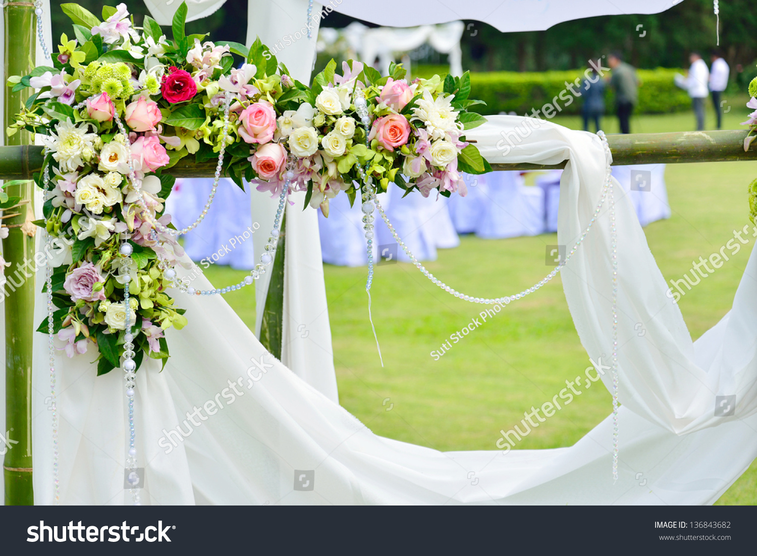 White Flowers Decorations During Outdoor Wedding Stock