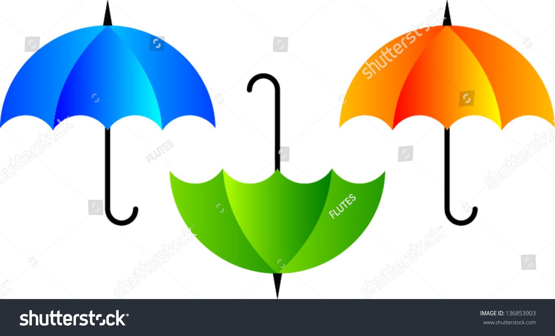 Vector Colored Umbrella Icon Blue Green Stock Vector 136853903 ...