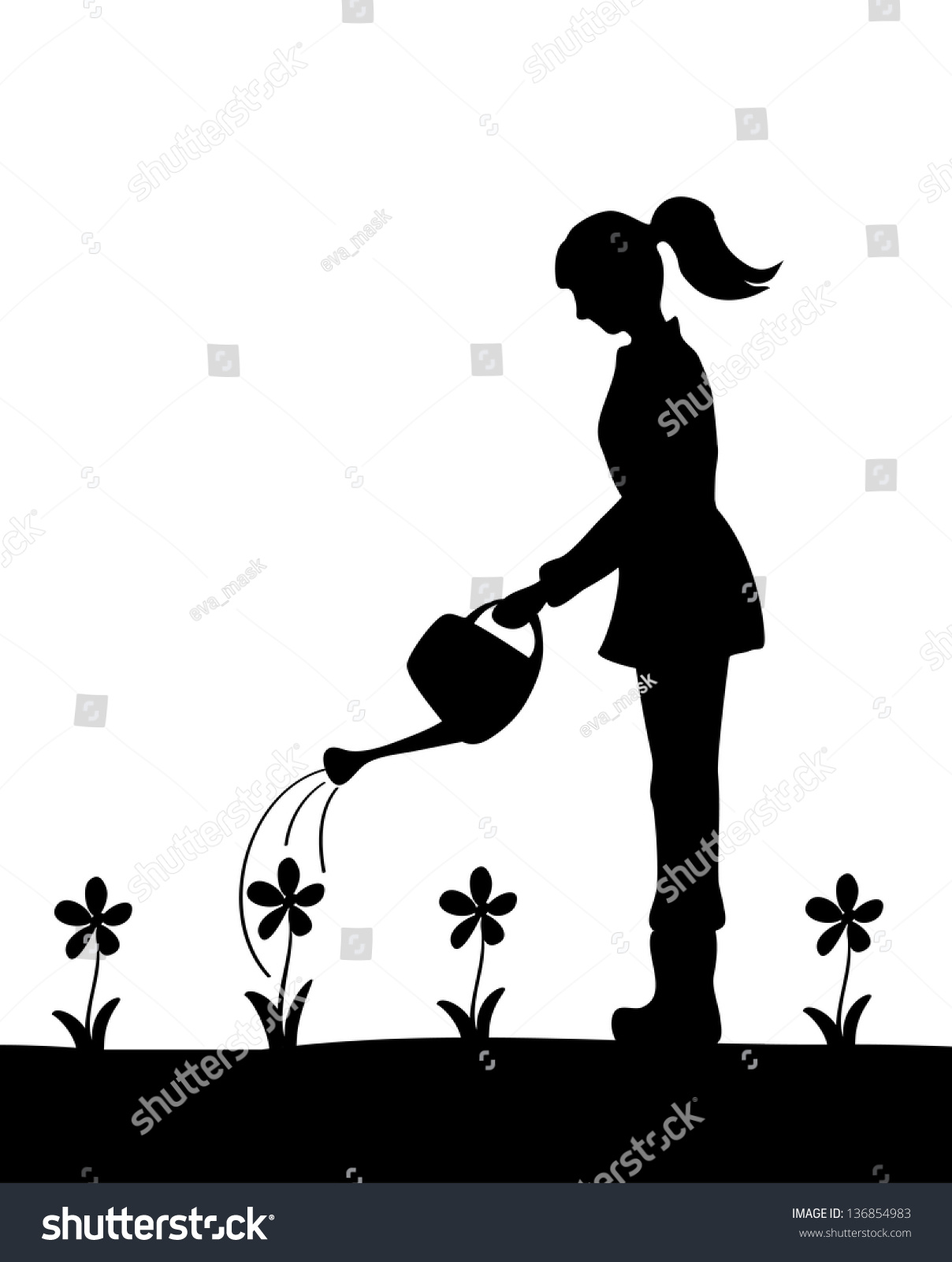 Silhouette Girl Watering Flowers Stock Vector 136854983 ...