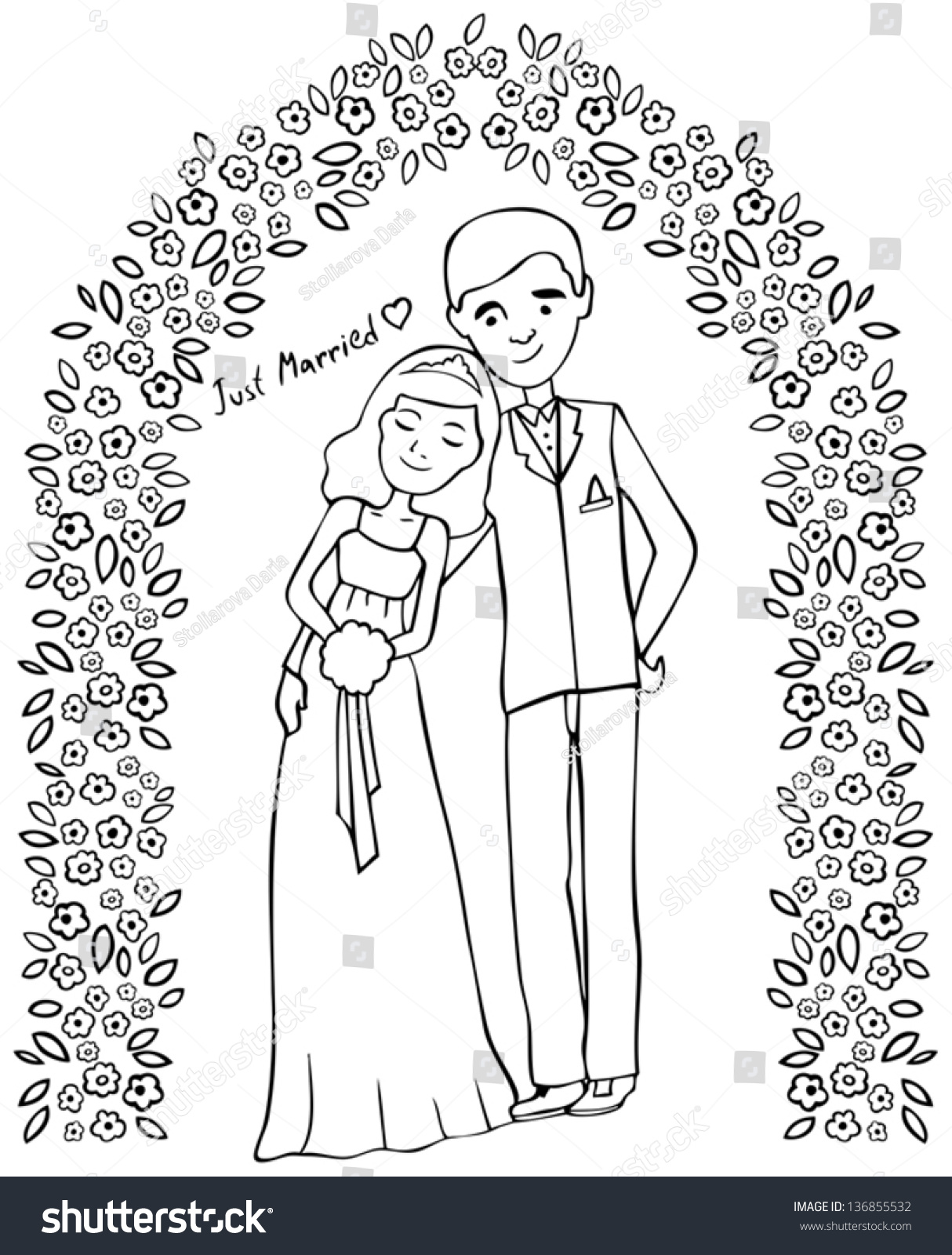 Happy married couple sketch