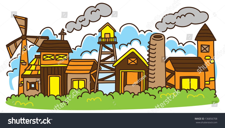 Cartoon Factory Stock Vector Illustration 136856708 ...
