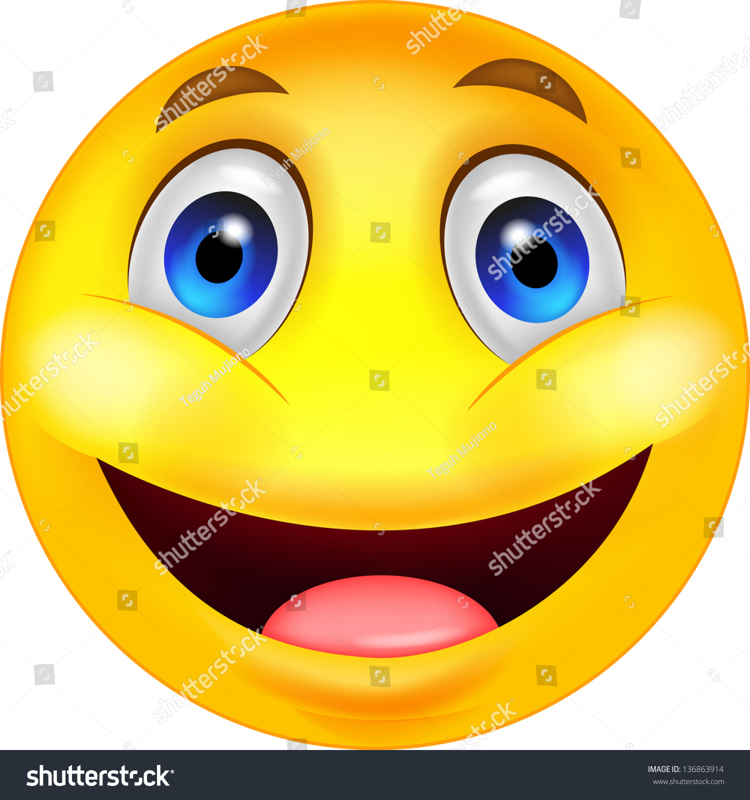 Happy Smiley Emoticon Face Stock Illustration 136863914 ...
