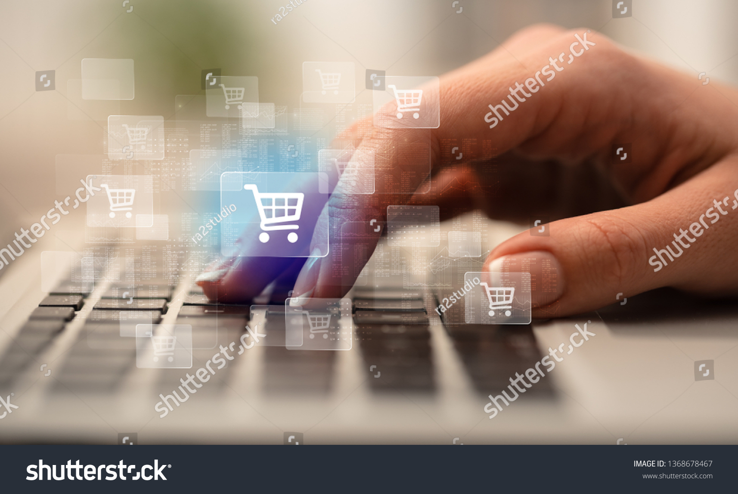 Business woman hand typing on keyboard with online shopping concept #1368678467