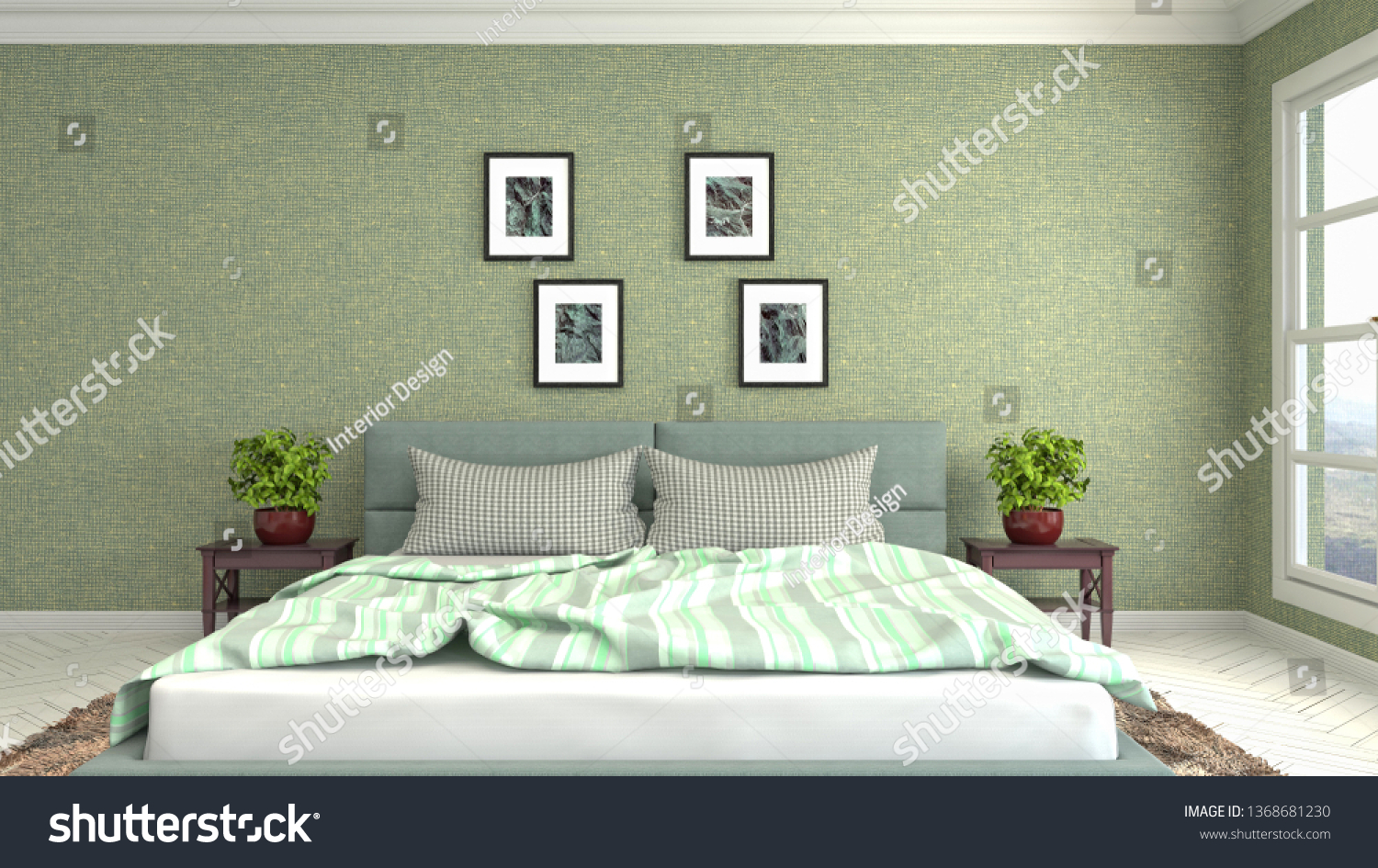 Bedroom interior. 3d illustration #1368681230