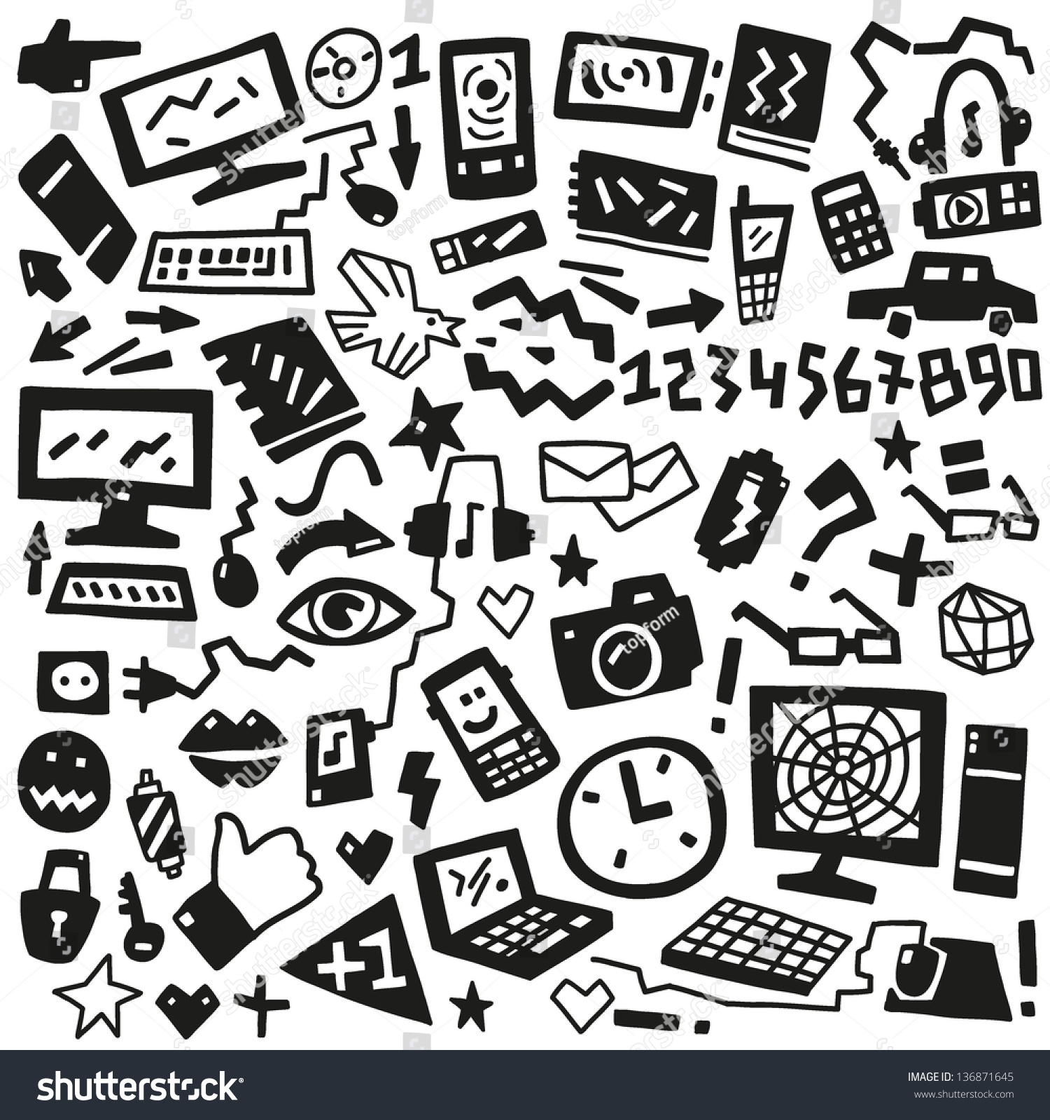 Technology Doodles Stock Vector Illustration 136871645 ...