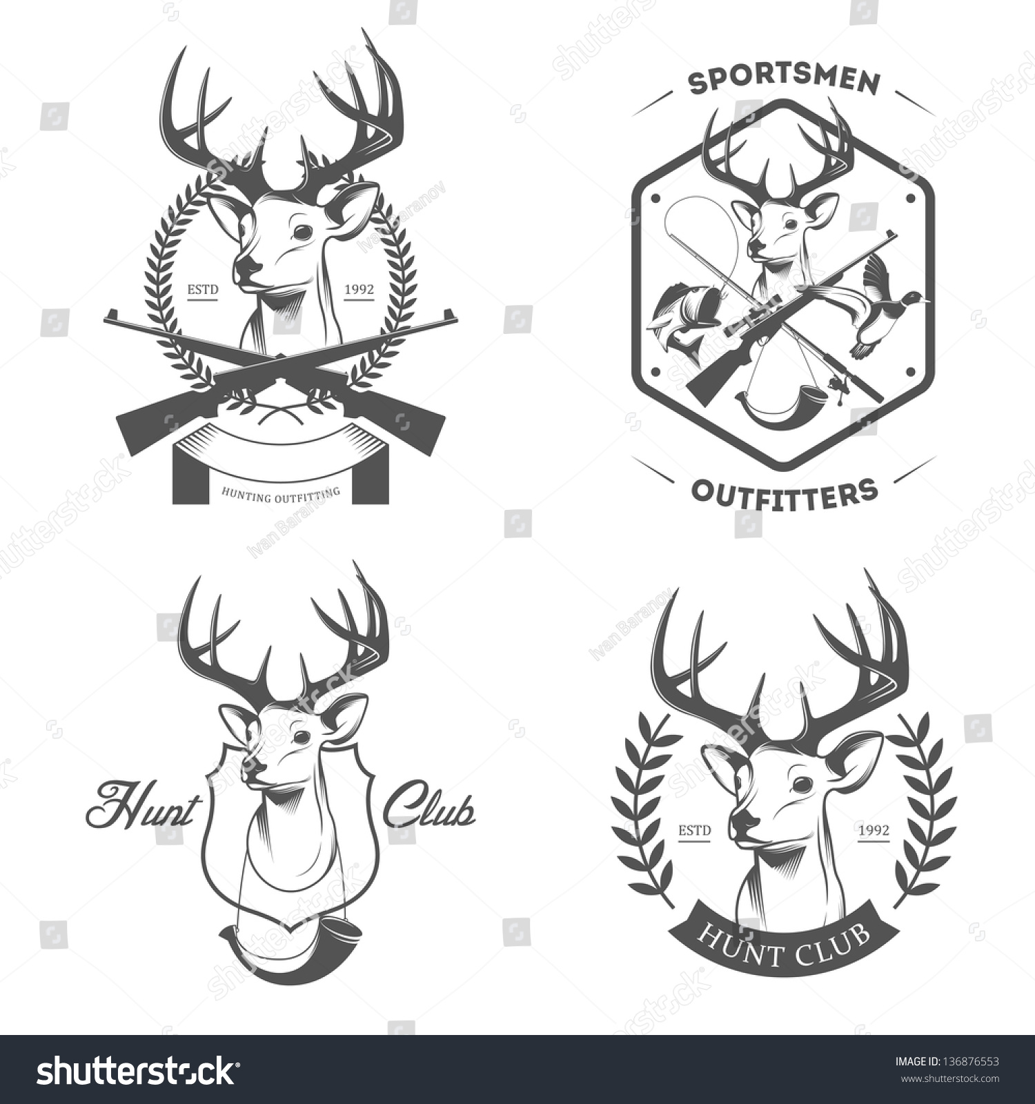 royalty free set of vintage hunting and fishing logo u2026 136876553