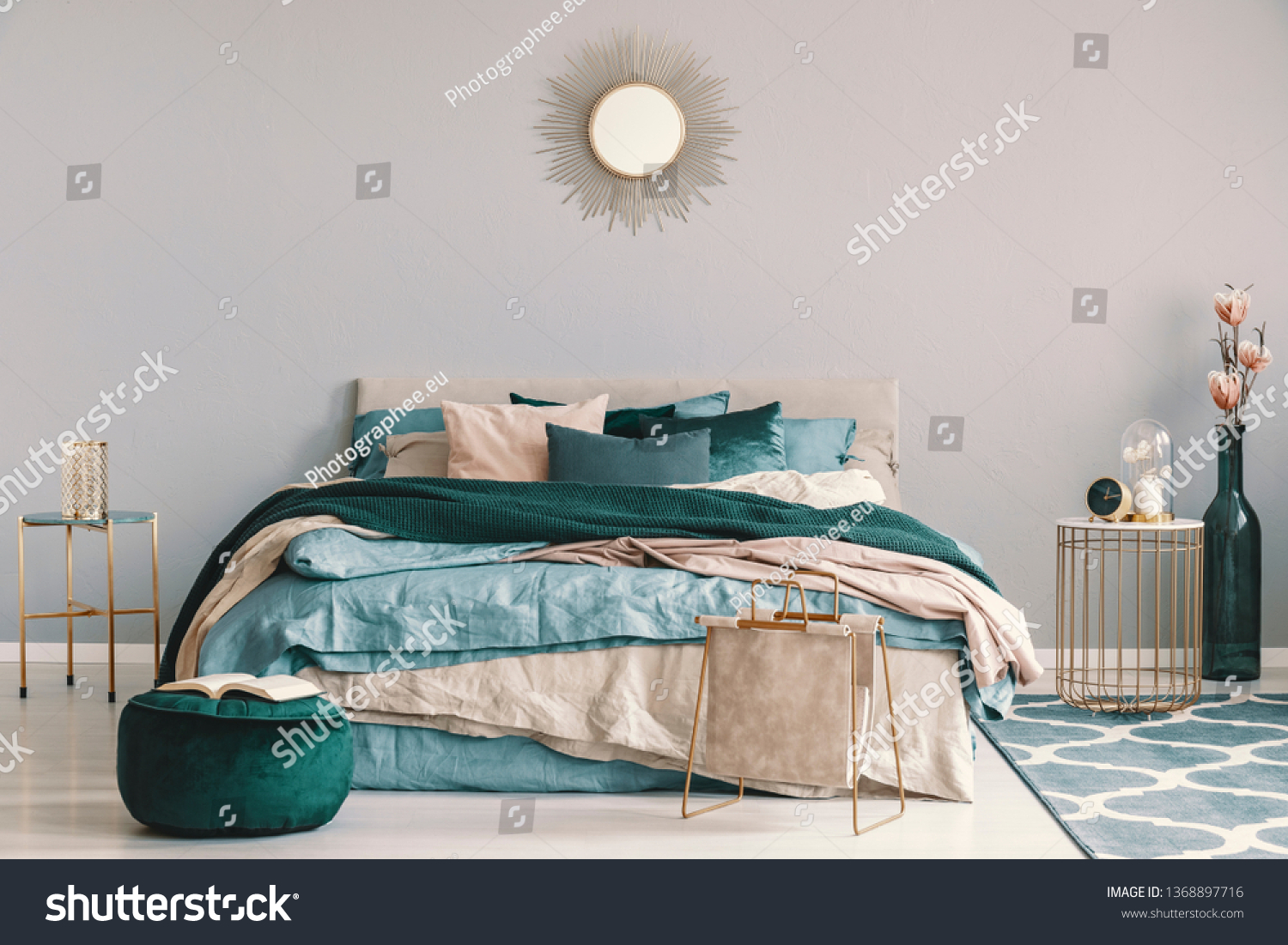 Blue Beige Emerald Green Bedding On Stock Photo Edit Now 1368897716