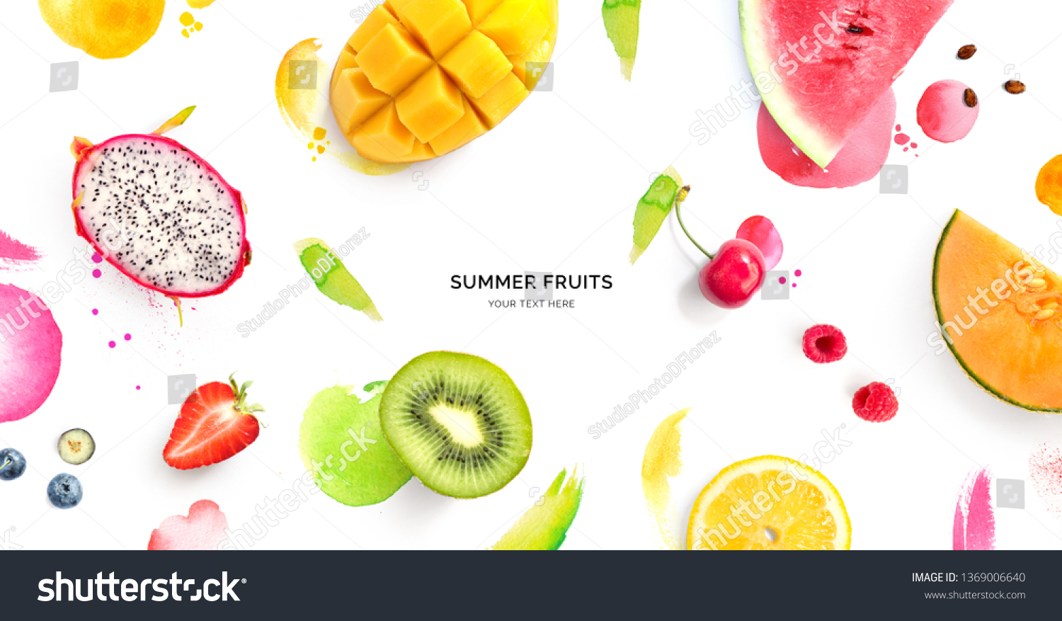 Creative layout made of dragonfruit, melon, watermelon, cherry, kiwi, strawberry, mango on the watercolor background. Flat lay. Food concept. #1369006640