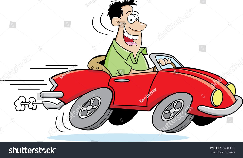 Cartoon Illustration Man Driving Car arkistokuvitus 136905053