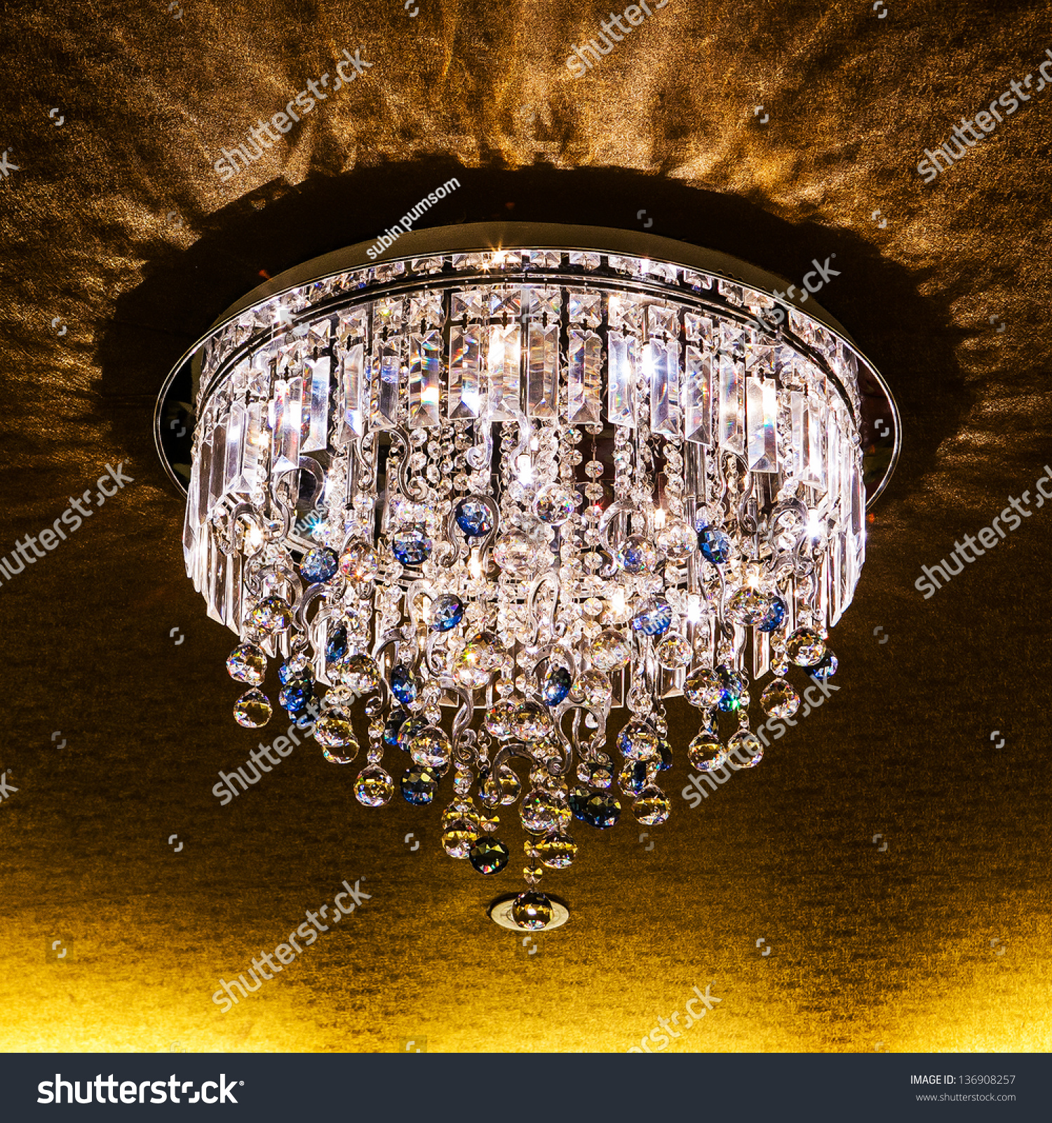 Elegant crystal chandelier stock photo 136908257 shutterstock elegant crystal chandelier arubaitofo Choice Image