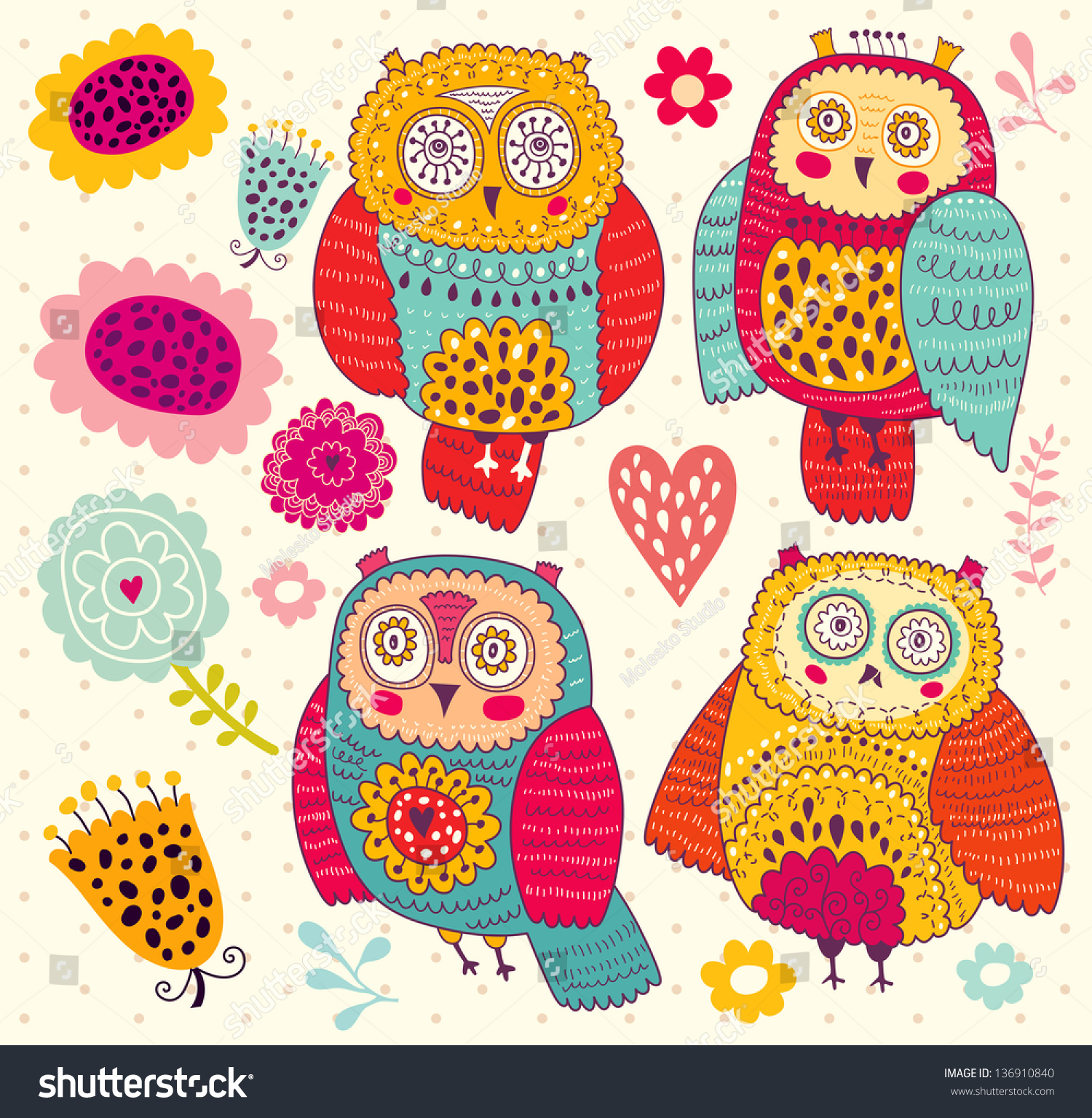 set funny owls flowers stock vector 136910840 shutterstock