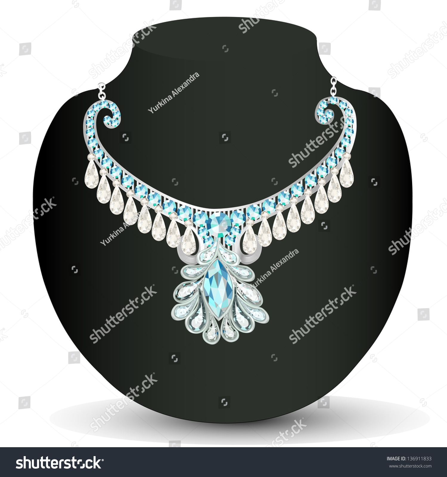 Illustration Necklace Women'S Wedding With Precious Stones ...