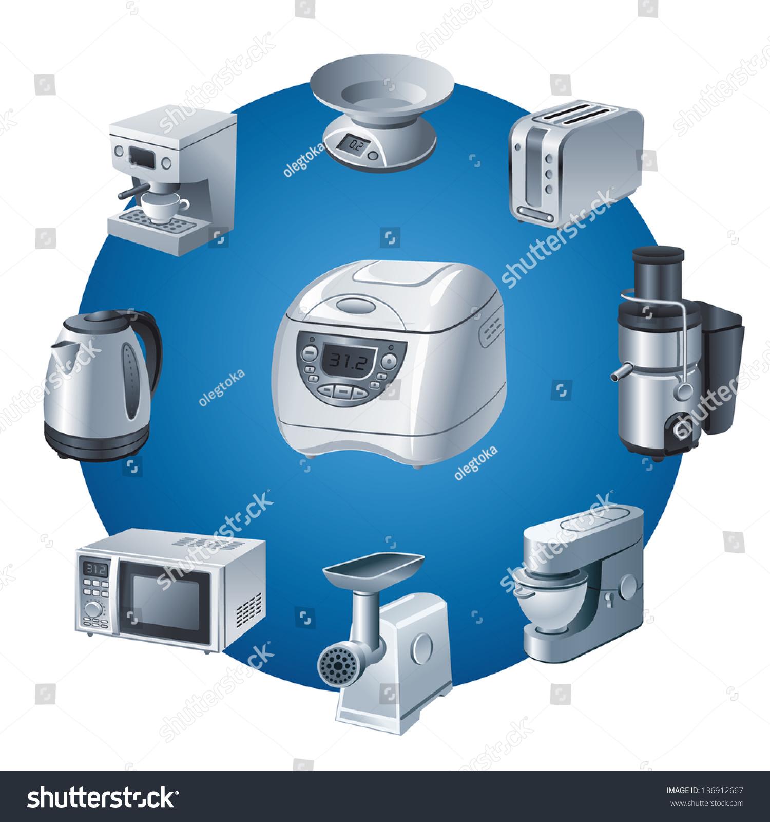 Kitchen Small Appliances Icon Set Stock Vector