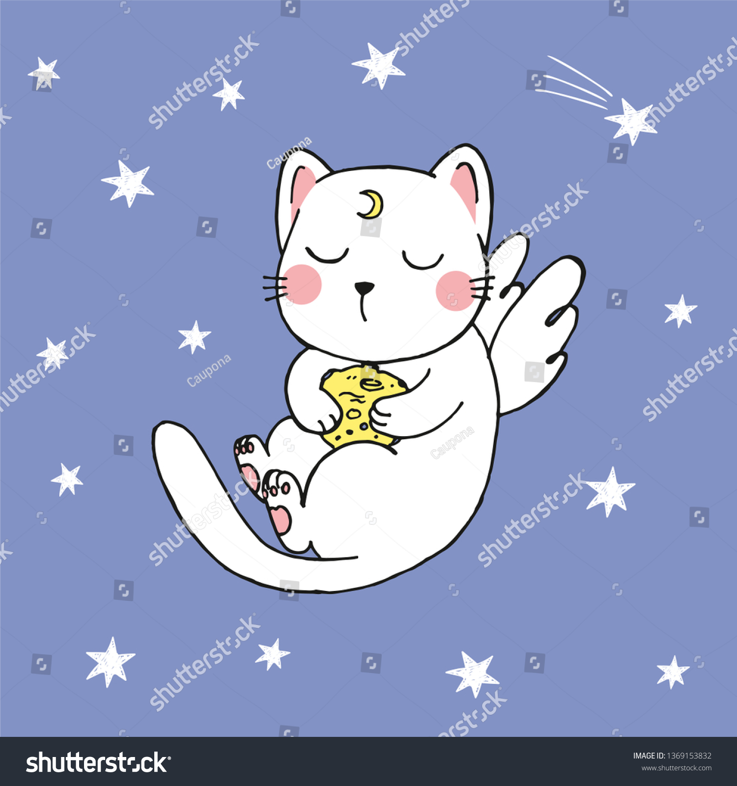 Anime Cat With Wings vector illustration hand drawn kawaii cartoon stock vector