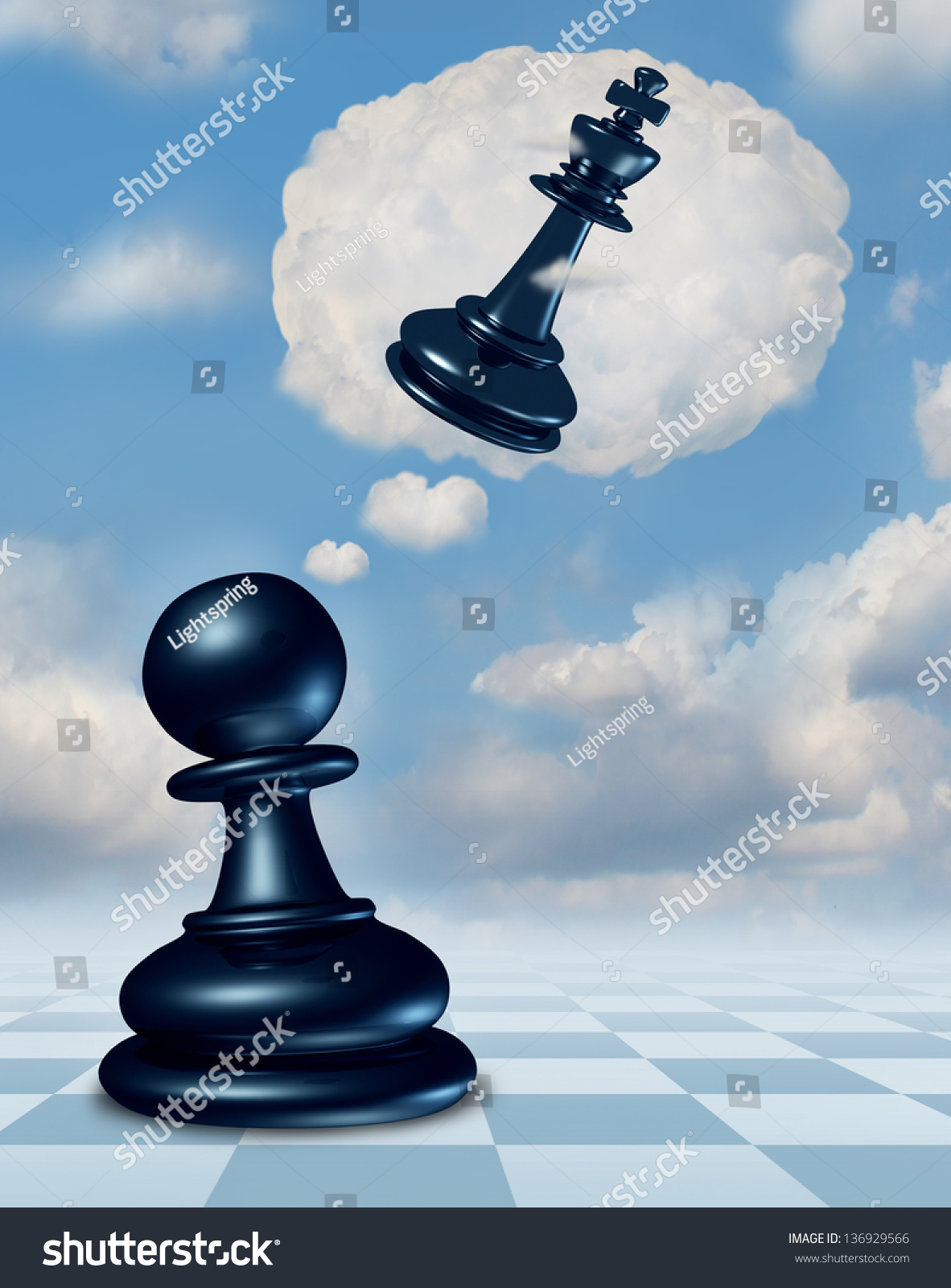 dreaming success chess game pawn piece stock illustration dreaming of success as a chess game pawn piece aspirations of becoming a king and
