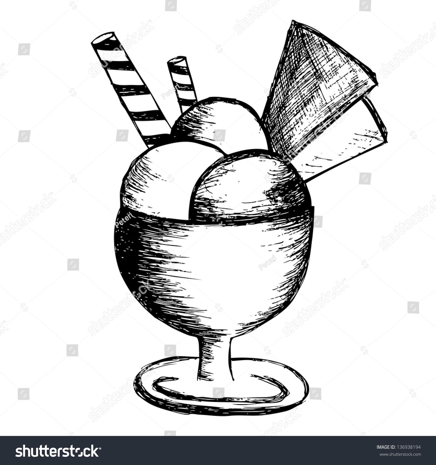 ice cream sundae isolated on white stock illustration
