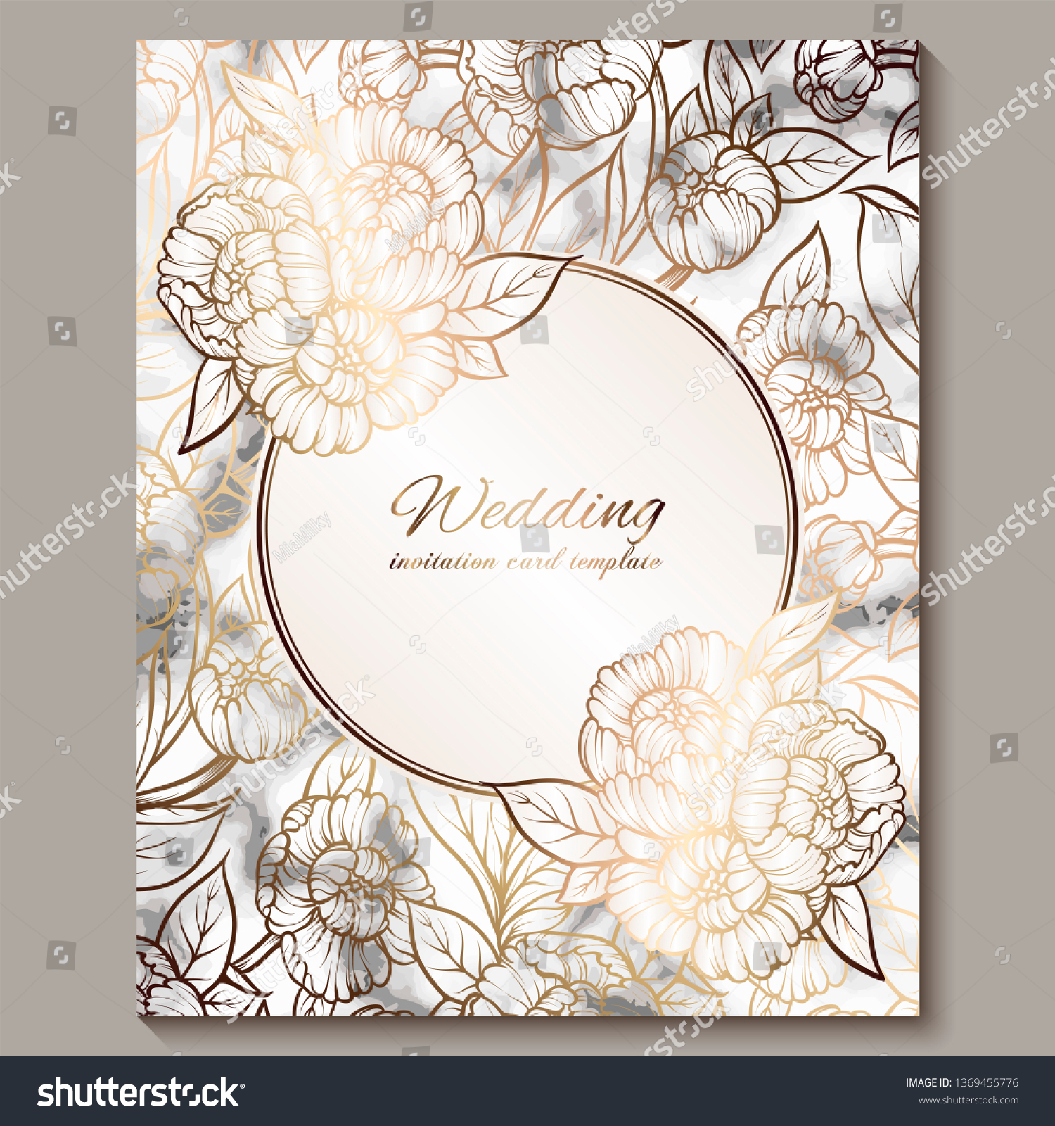 Luxury Elegant Wedding Invitation Cards Marble Stock Vector (Royalty Free)  1369455776