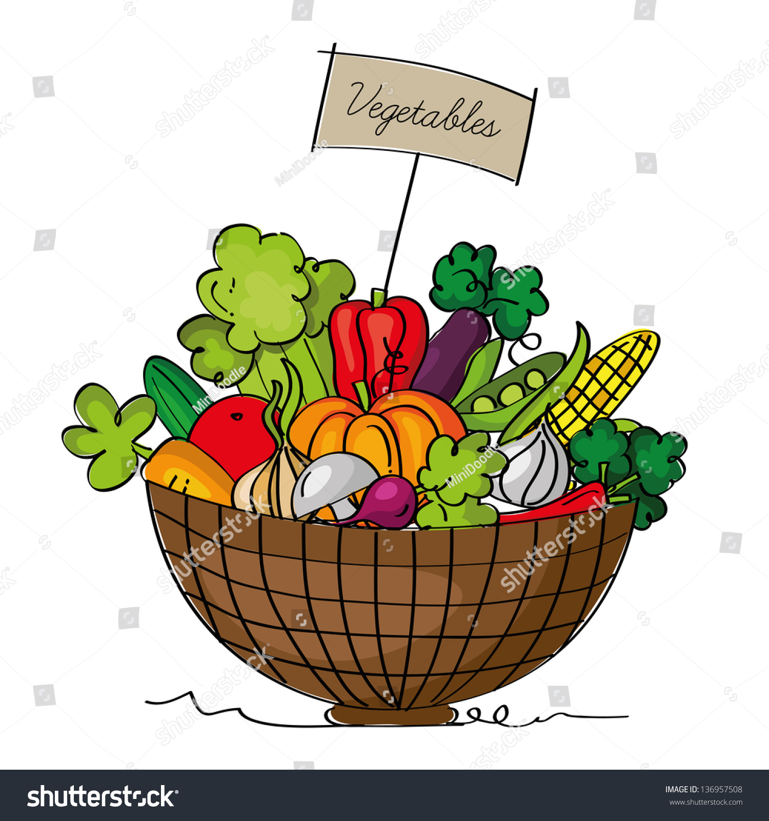 Basket Of Vegetables Clipart : Basket vegetables isolated on white background stock