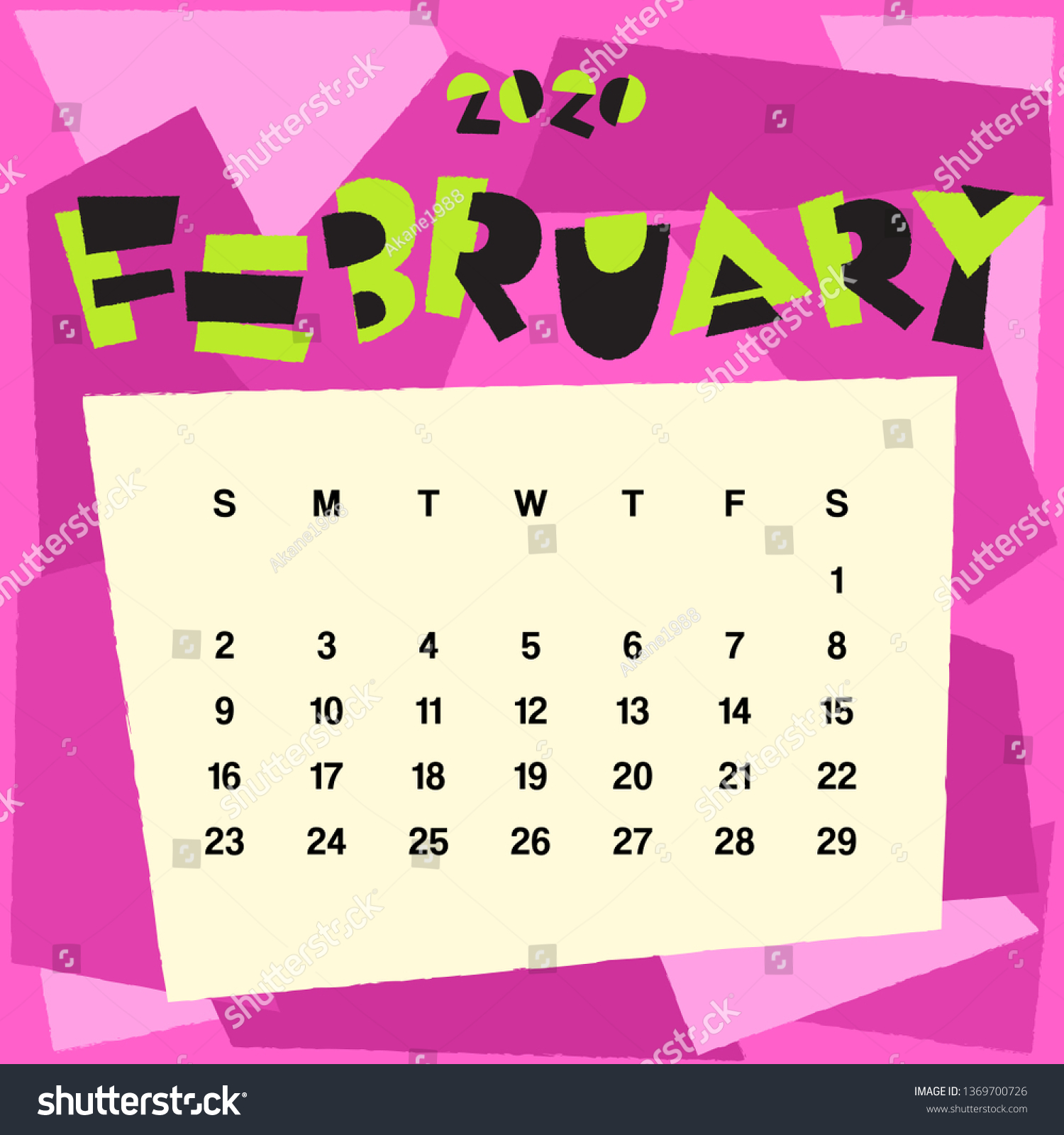 February Calendar 2020 Background February Calendar 2020 Template Monthly Calendar Stock Vector