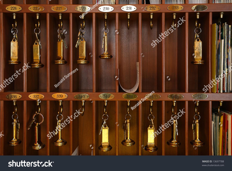 Vintage Hotel Front Desk Key Rack Stock Photo 13697788