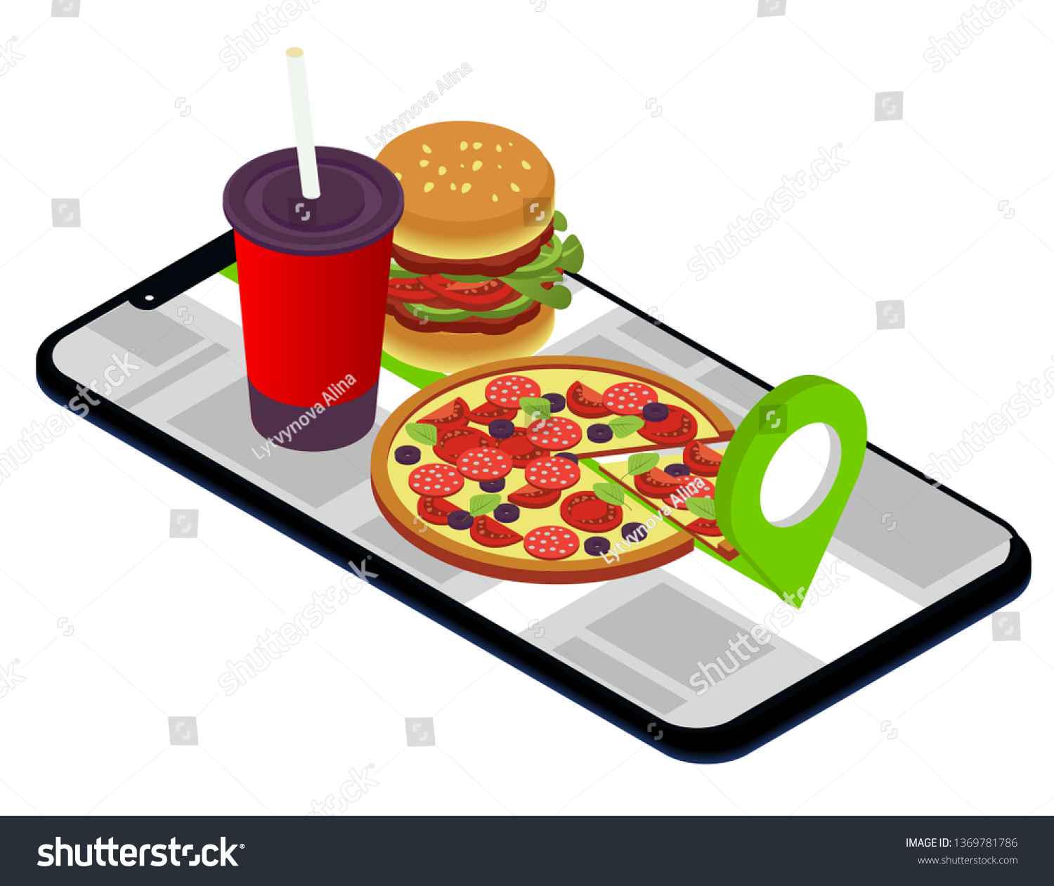 Fast Food Isometric Fast Delivery Mobile Stock Vector