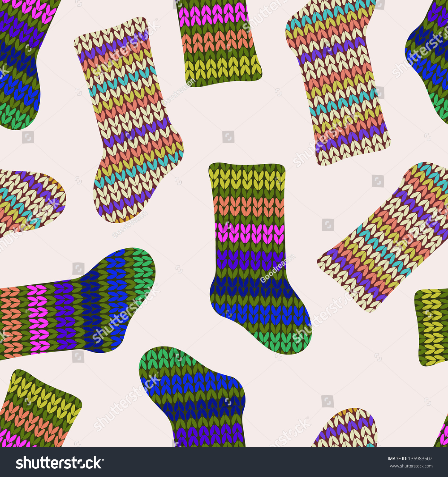 Seamless Pattern With Knitted Socks Stock Photo 136983602 : Shutterstock