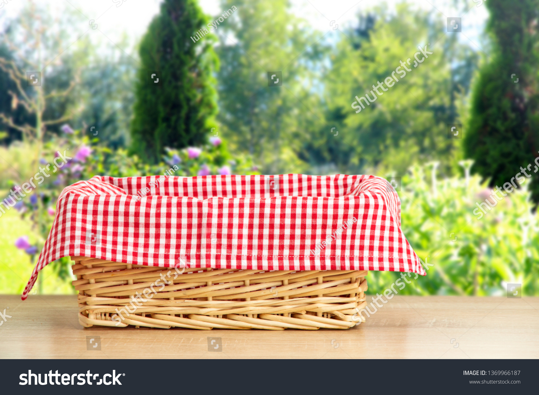 Wicker Picnic Basket On Wooden Tableholiday Editar Agora Foto Stock 1369966187