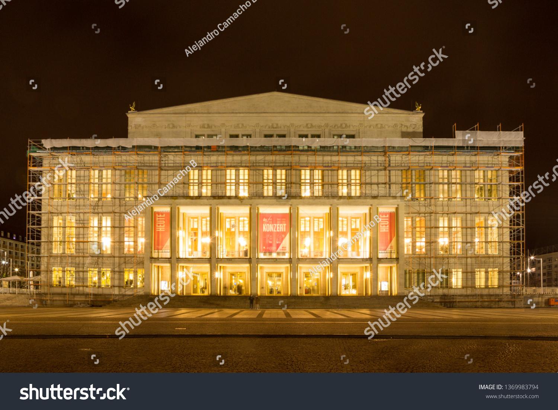 Leipzig Opera House Augustus Square During Buildings Landmarks Stock Image 1369983794