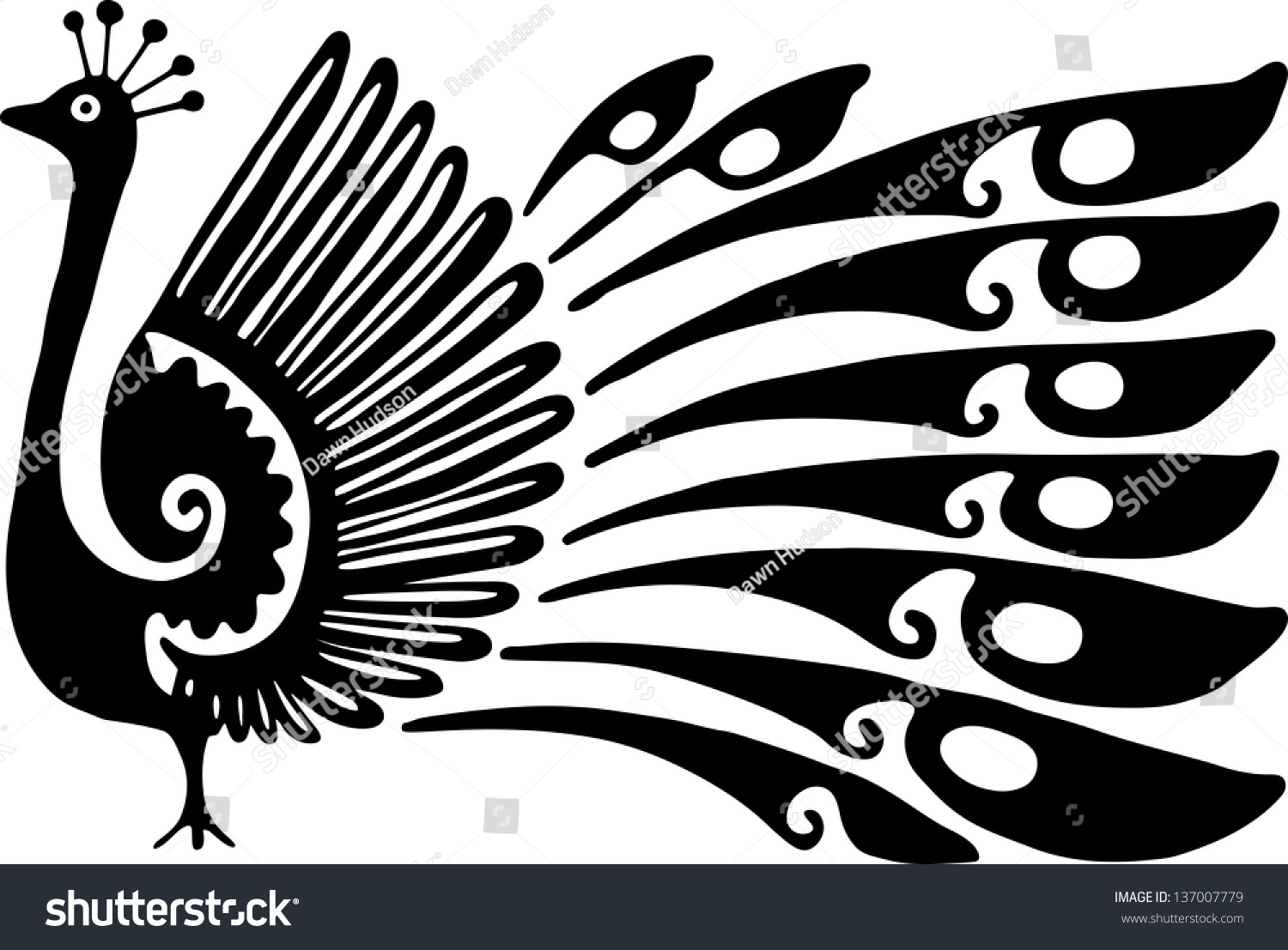 Simple Black And White Line Art : Simple black and white line drawing of a decorative