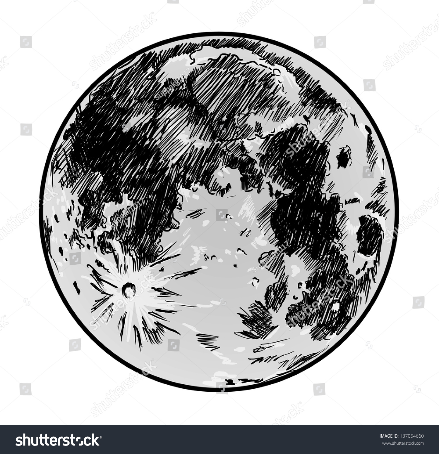 moon drawing on white backgroundのイラスト素材 137054660 shutterstock