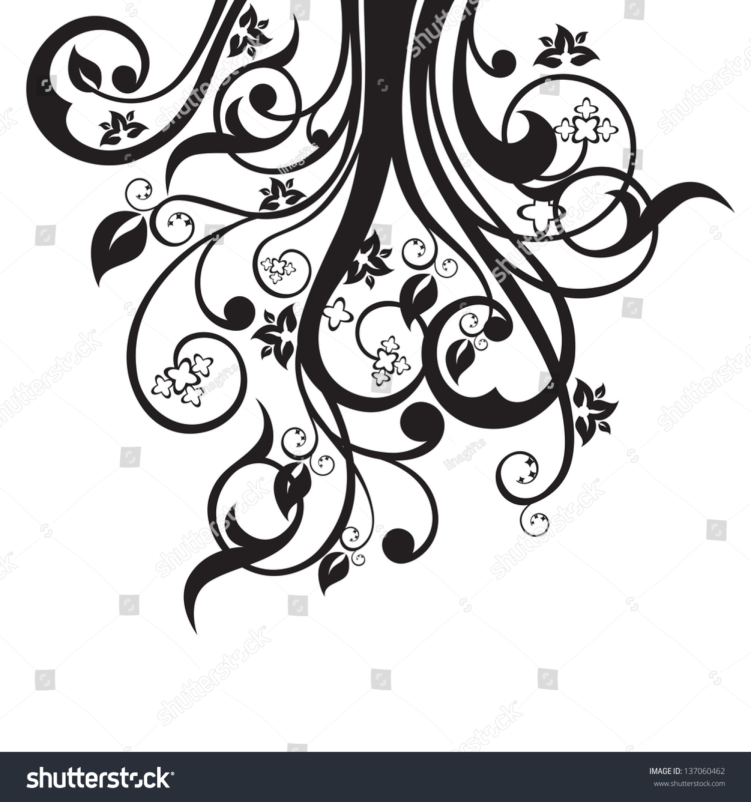 Flowers, Leaves And Swirls Silhouette In Black Isolated On ...