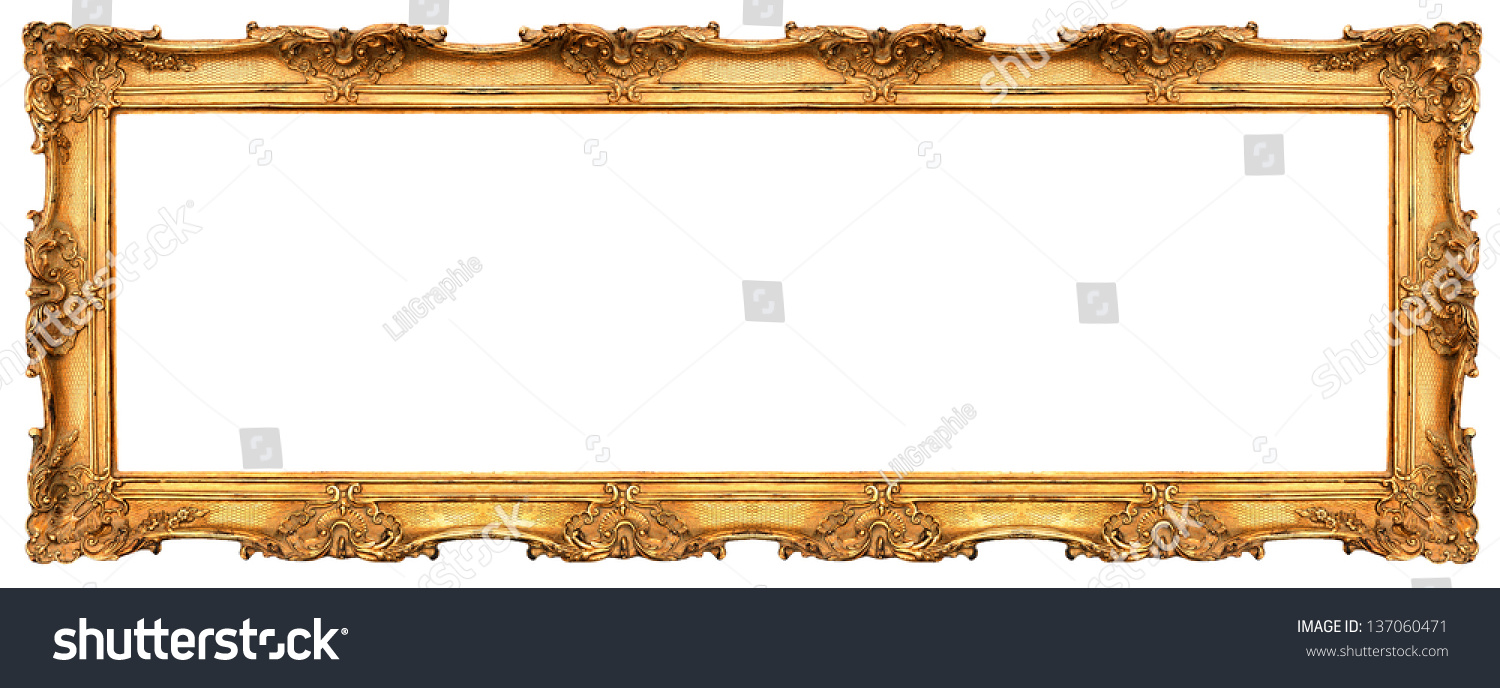 long old golden frame isolated on white. beautiful vintage background