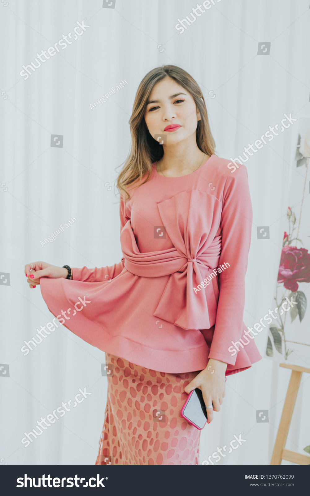 Cute Female Model Wearing Baju Kebaya Stock Photo Edit Now 1370762099