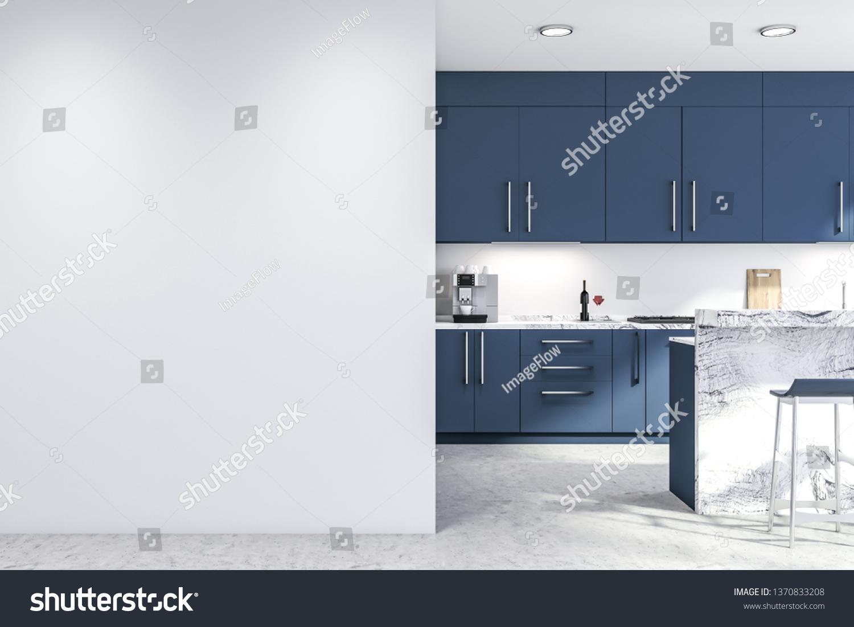 Interior Modern Kitchen White Walls Concrete Stock Photo Edit Now 1370833208