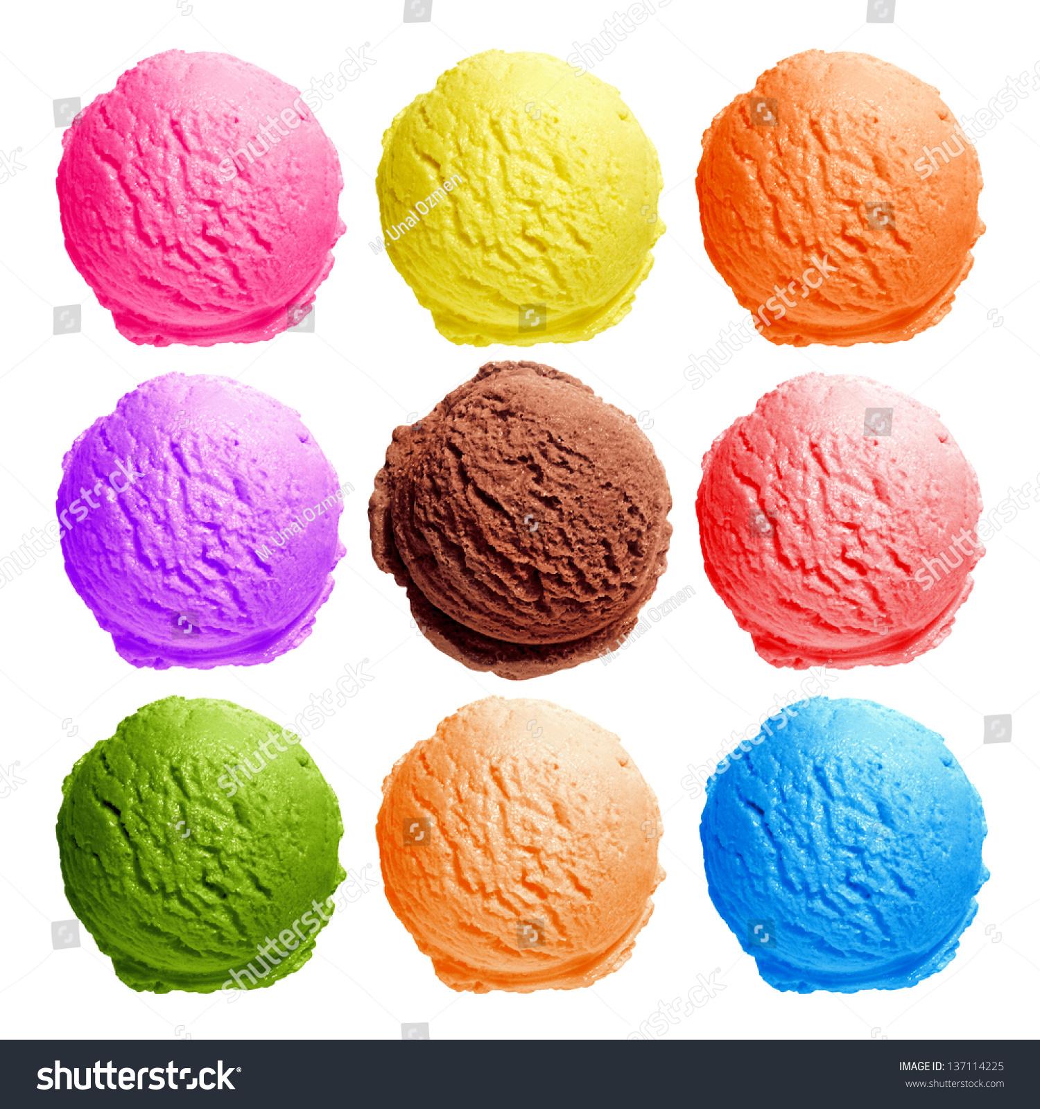Scoop Ice Cream : Ice cream scoops top view on stock photo