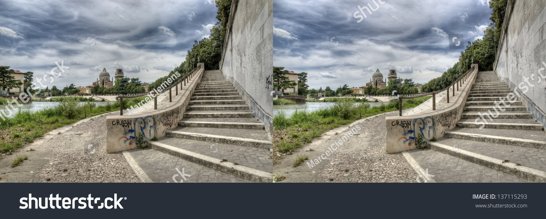 Stereo Pair Adige River Verona Italy Buildings Landmarks Stock Image 137115293
