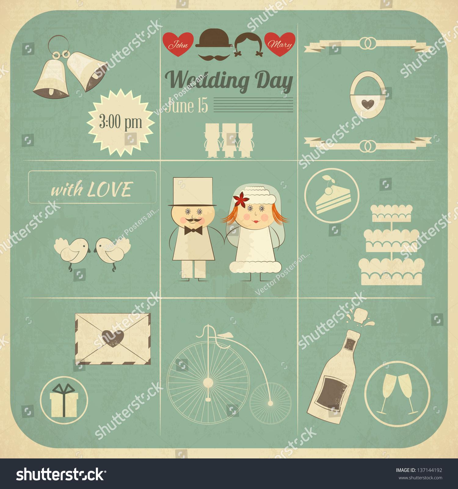 Wedding Invitation Card Retro Infographics Style Stock Vector Royalty Free 137144192