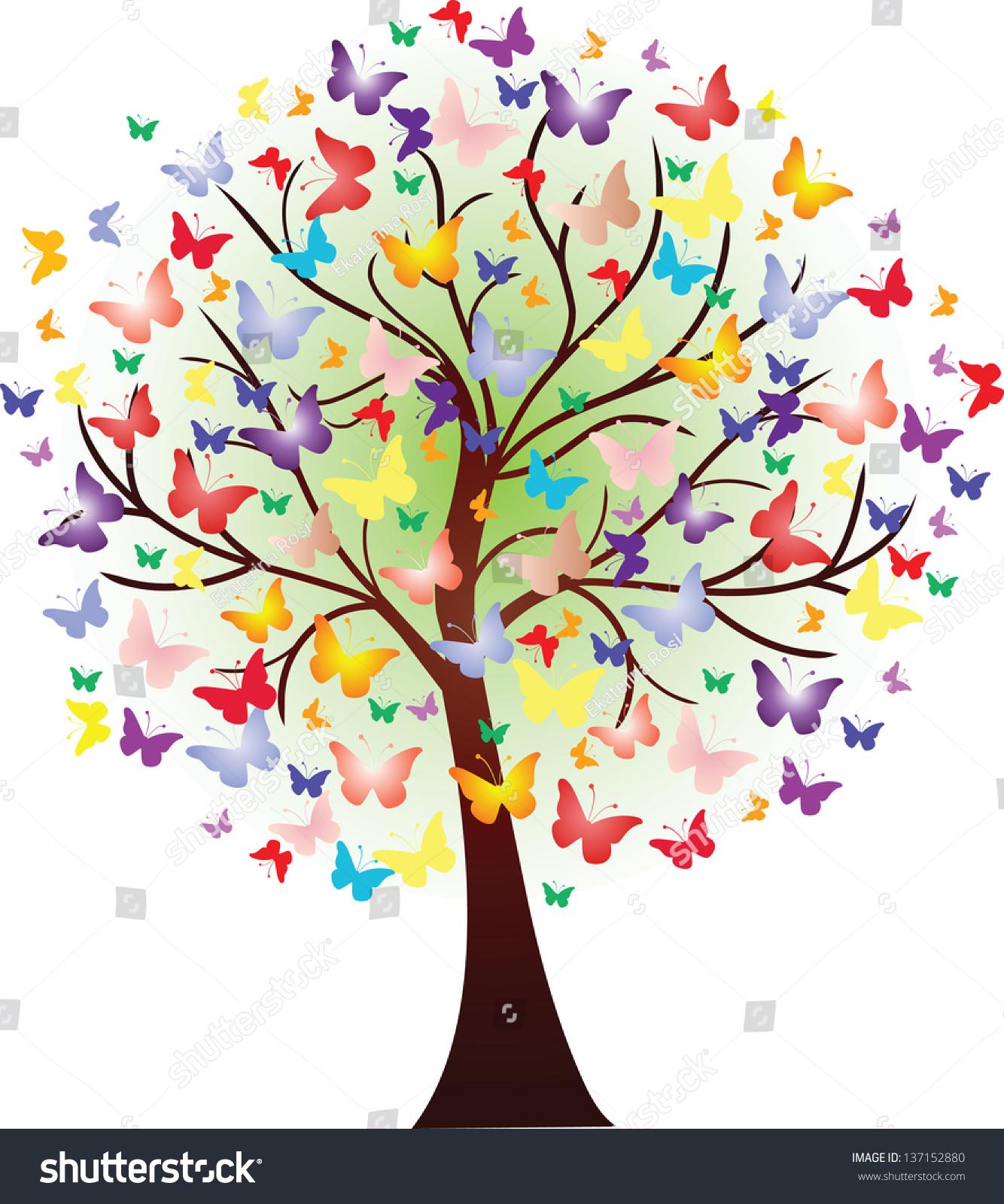 Vector Beautiful Spring Tree Consisting Butterflies