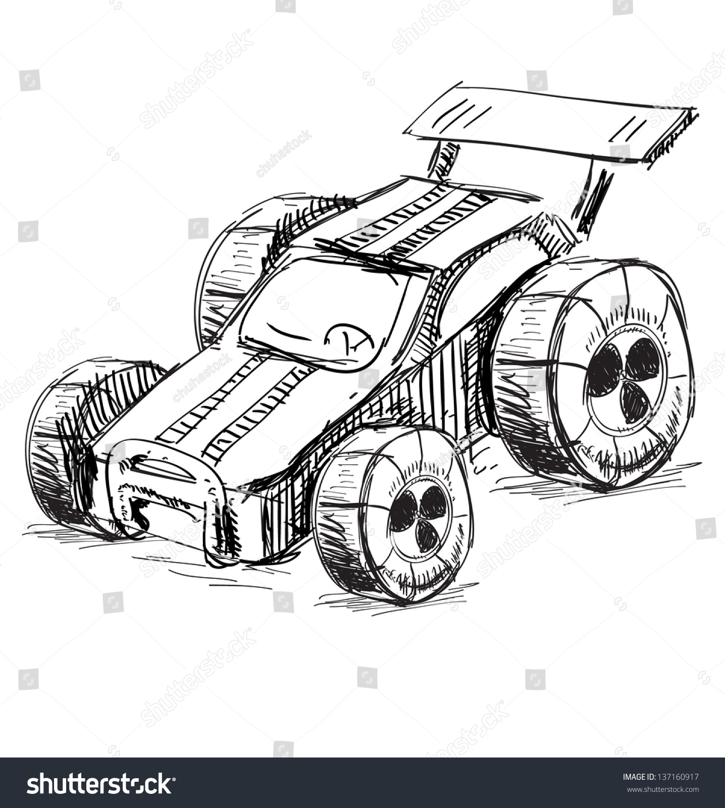 Cartoon Racing Car Toy Hand Drawing Stock Illustration Royalty