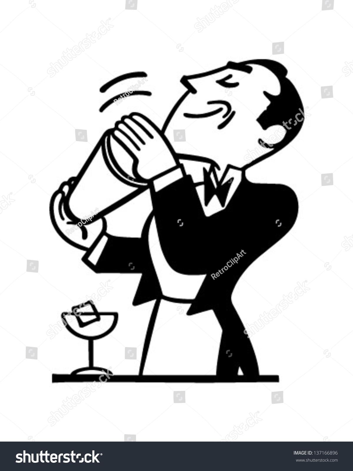 Bartender Mixing Drink Retro Clip Art Stock Vector 137166896 ...