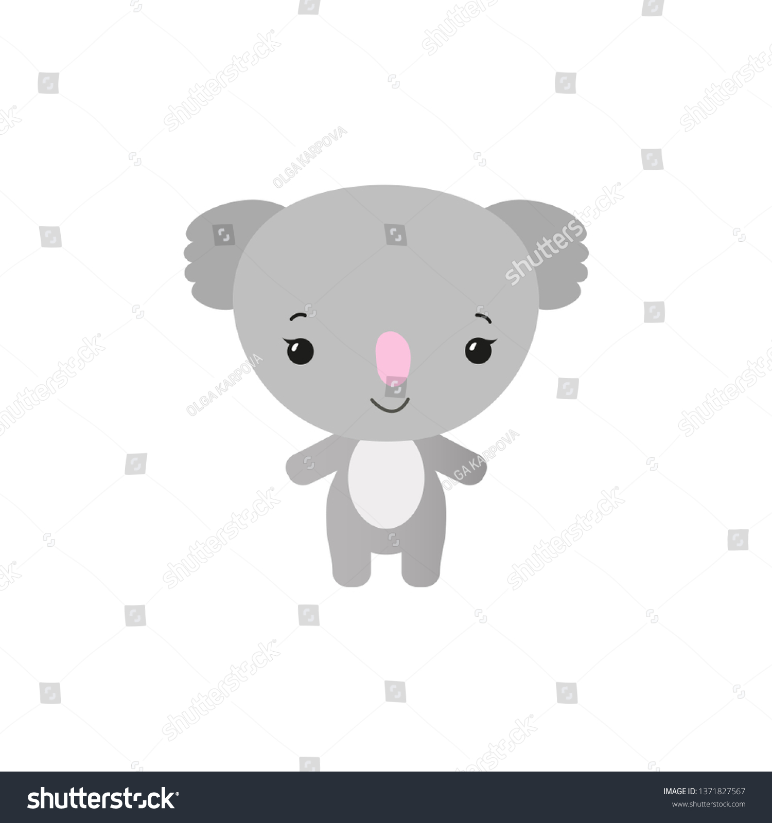 Cute Koala Animal Kawaii Style Funny Stock Vector Royalty Free