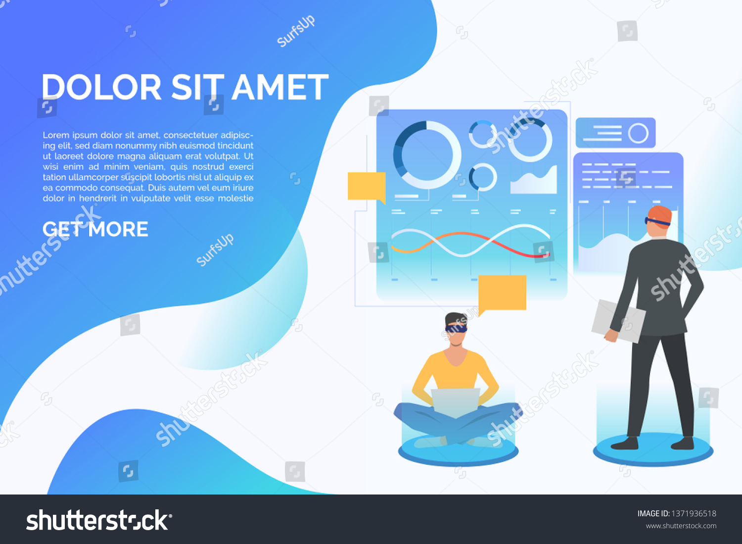 People Wearing Virtual Reality Glasses Working Stock Vector