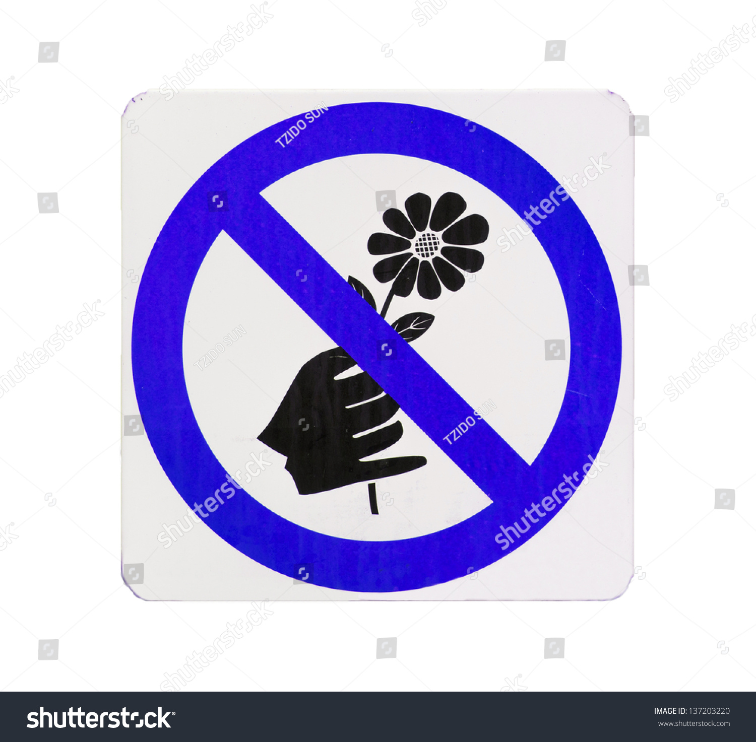 Do Not Pick Flower Sign Blue Cycle Color Stockfoto