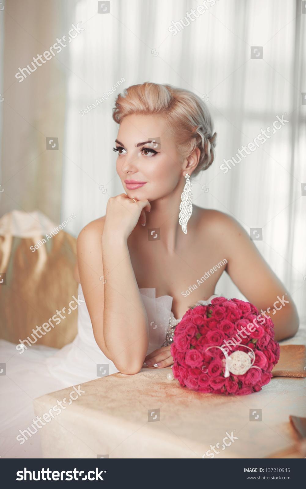 gorgeous bride blonde wedding dress luxury stock photo (royalty free