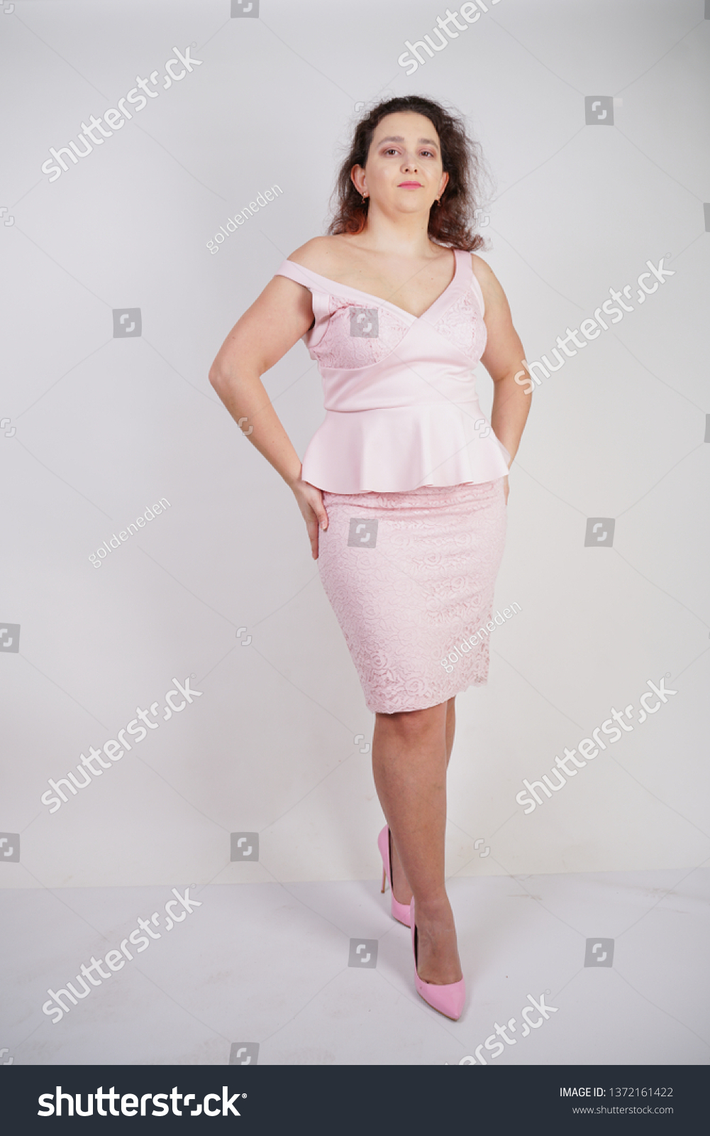 Trendy Plump Positive Woman Plus Size Stock Image | Download Now