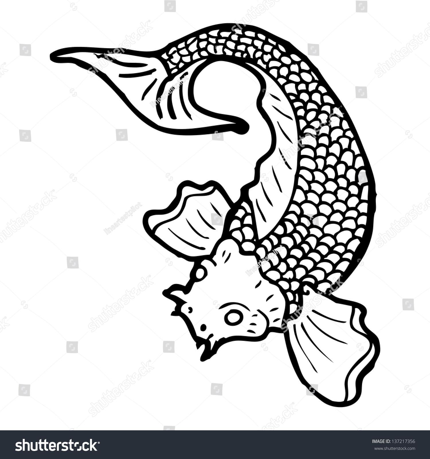 black white japanese fish tattoo stock illustration 137217356 shutterstock. Black Bedroom Furniture Sets. Home Design Ideas