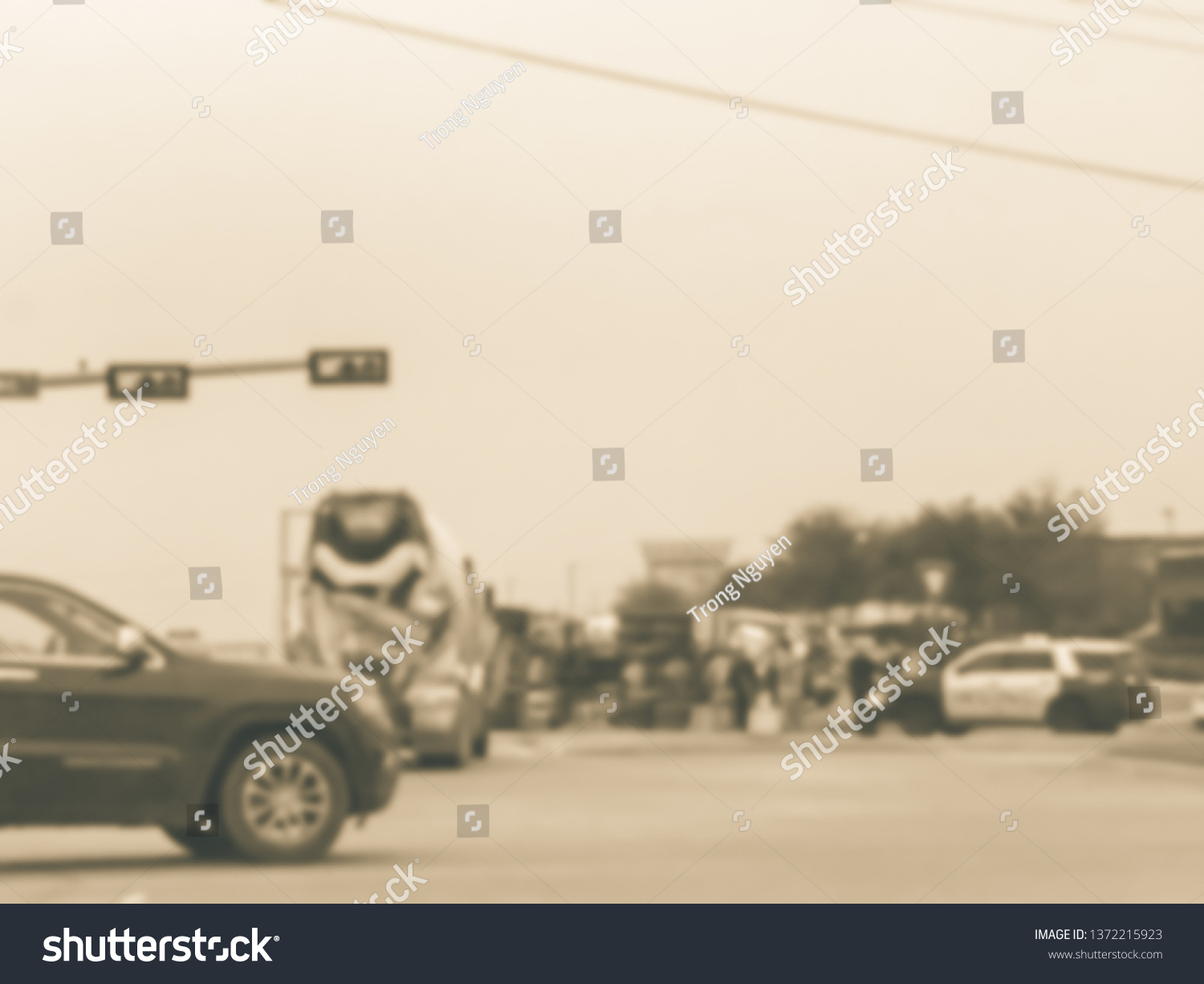 Blurred Abstract Dramatic Car Accident Street Stock Photo