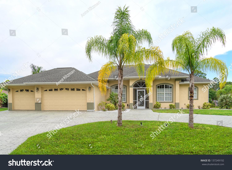 Typical Southwest Florida Concrete Block Stucco Stock