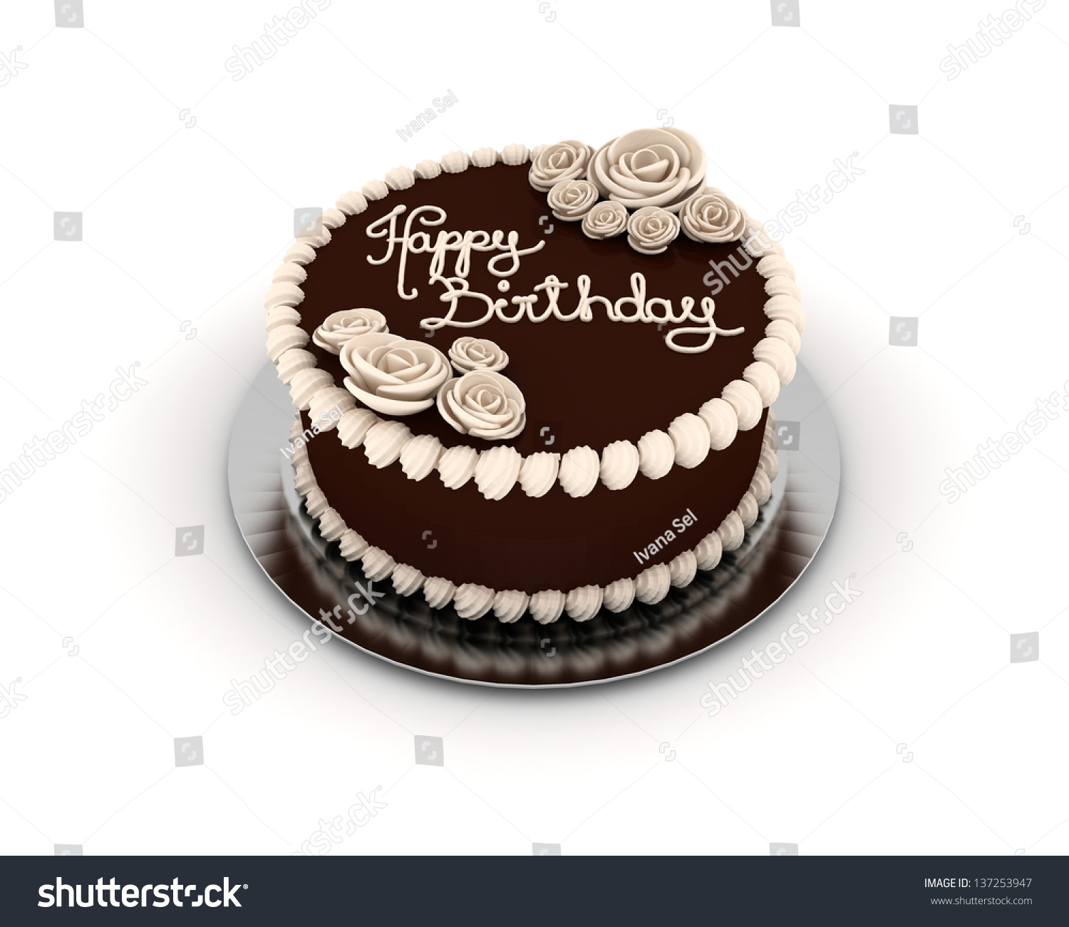 Chocolate birthday cake decorated creamy ornaments stock chocolate birthday cake decorated with creamy ornaments and flowers isolated on white background izmirmasajfo