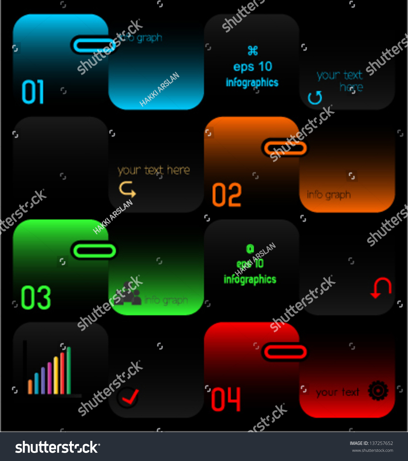 Black Design Template Layout Numbers Various Stock Vector Royalty